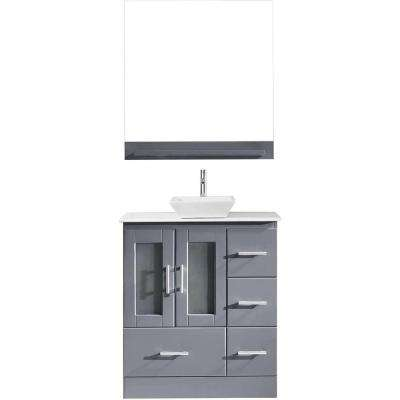 Zola 31 in. W Bath Vanity in Gray with Stone Vanity Top in White with Square Basin and Mirror and Faucet