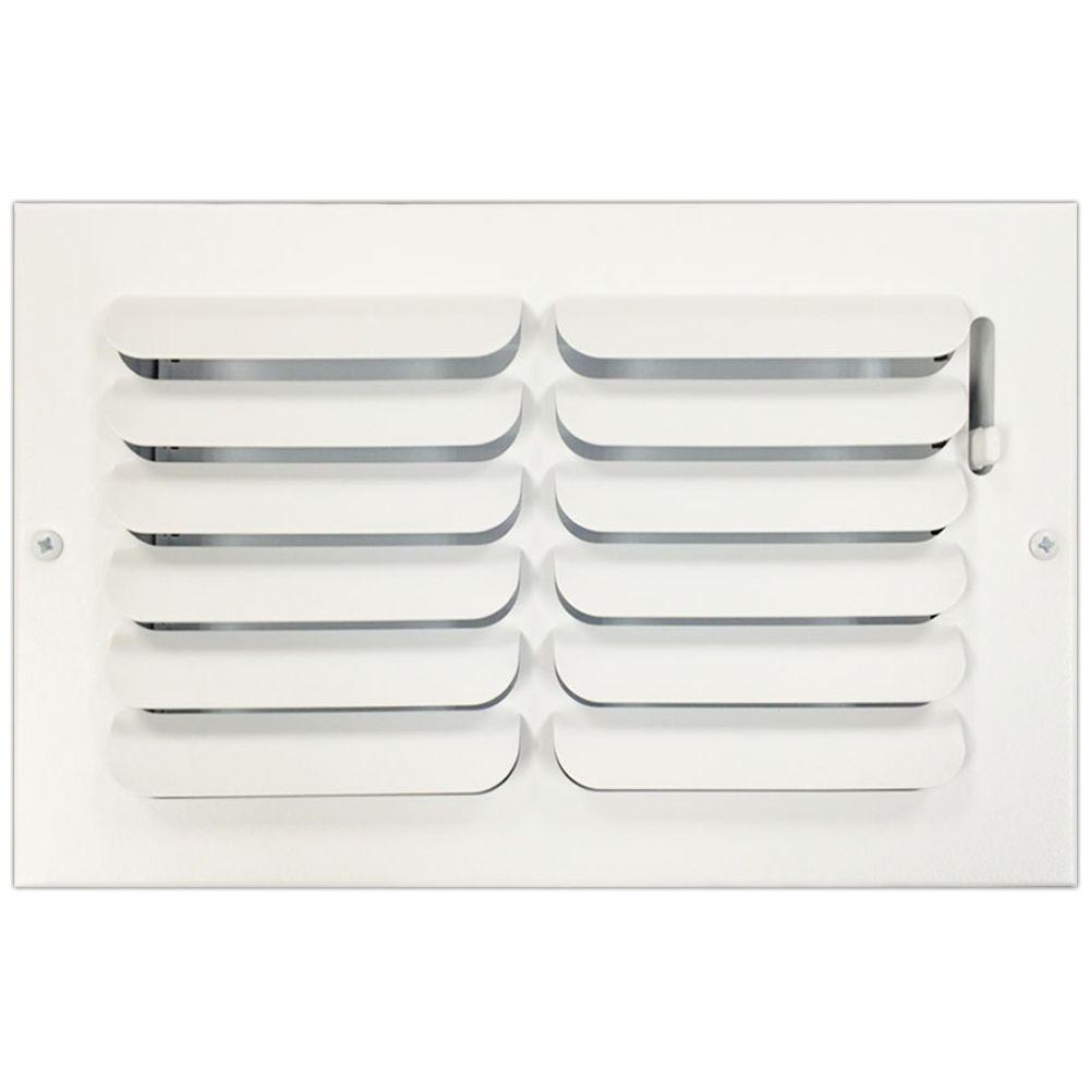 SPEEDI-GRILLE 12 in. x 6 in. Ceiling or Wall Register with Curved Single Deflection, White