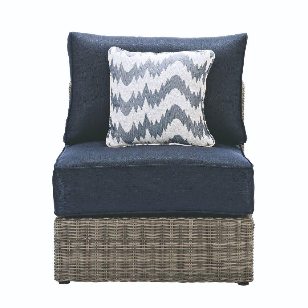 Home Decorators Collection Naples Grey All Weather Wicker Armless Middle Outdoor Sectional Chair With Navy