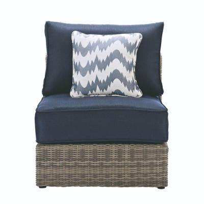 Naples Grey All-Weather Wicker Armless Middle Outdoor Sectional Chair with Navy Cushions
