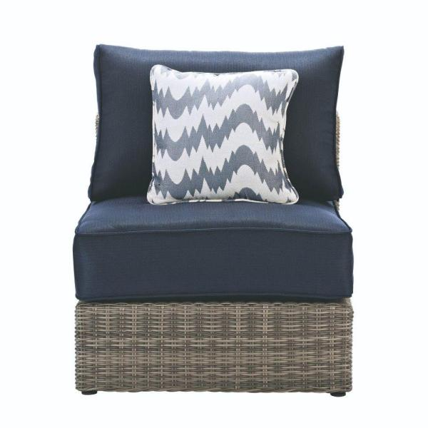 Home Decorators Collection Naples Grey All-Weather Wicker Armless Middle Outdoor Sectional Chair with Navy Cushions