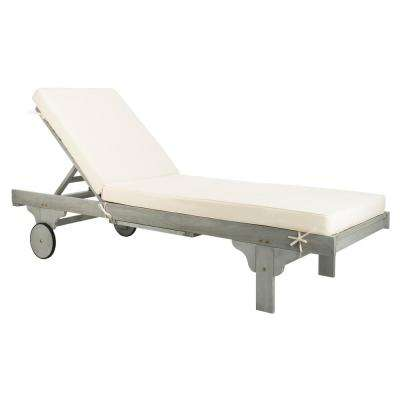 Newport Ash Grey Adjustable Wood Outdoor Lounge Chair with White Cushion