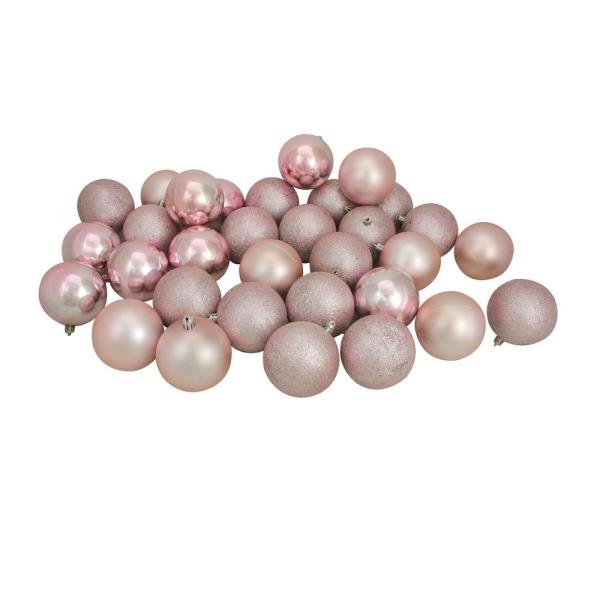 3.25 in. (80 mm) Blush Pink Shatterproof 4-Finish Christmas Ball Ornaments (32-Count)