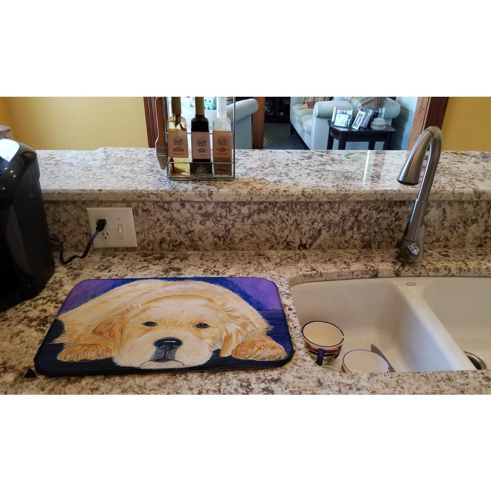 14 in. x 21 in. Multicolor Golden Retriever Dish Drying Mat