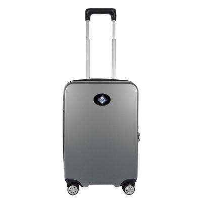 MLB Tampa Bay Rays Premium Silver 22 in. 100% PC Hardside Carry-On Spinner w/ Charging Port Suitcase