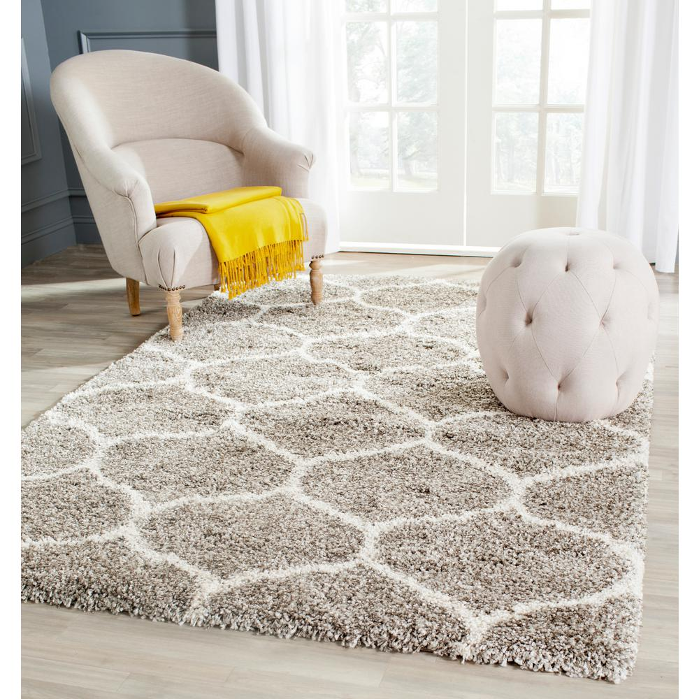 Safavieh hudson shag navy ivory 9 ft x 12 ft area rug sgh280c 9 the home depot - Cozy white shag rug for the comfortable steps sensation ...