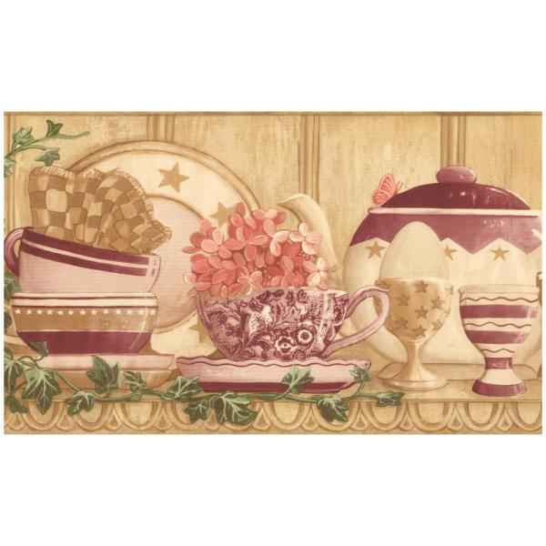 Retro Art Vintage Kitchen Shelf Cups Kettle Plates Traditional Prepasted Wallpaper Border Cp033123b The Home Depot