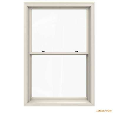 37.375 in. x 56.5 in. W-2500 Series White Painted Clad Wood Double Hung Window w/ Natural Interior and Low-E Glass