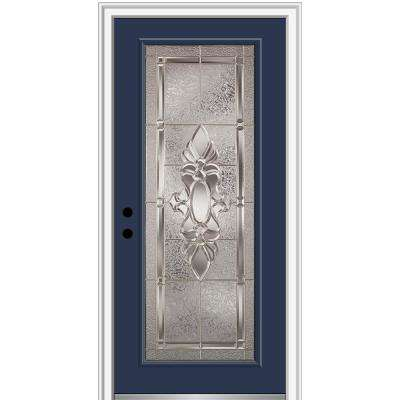 36 in. x 80 in. Heirlooms Right-Hand Inswing Full Lite Decorative Painted Steel Prehung Front Door on 4-9/16 in. Frame