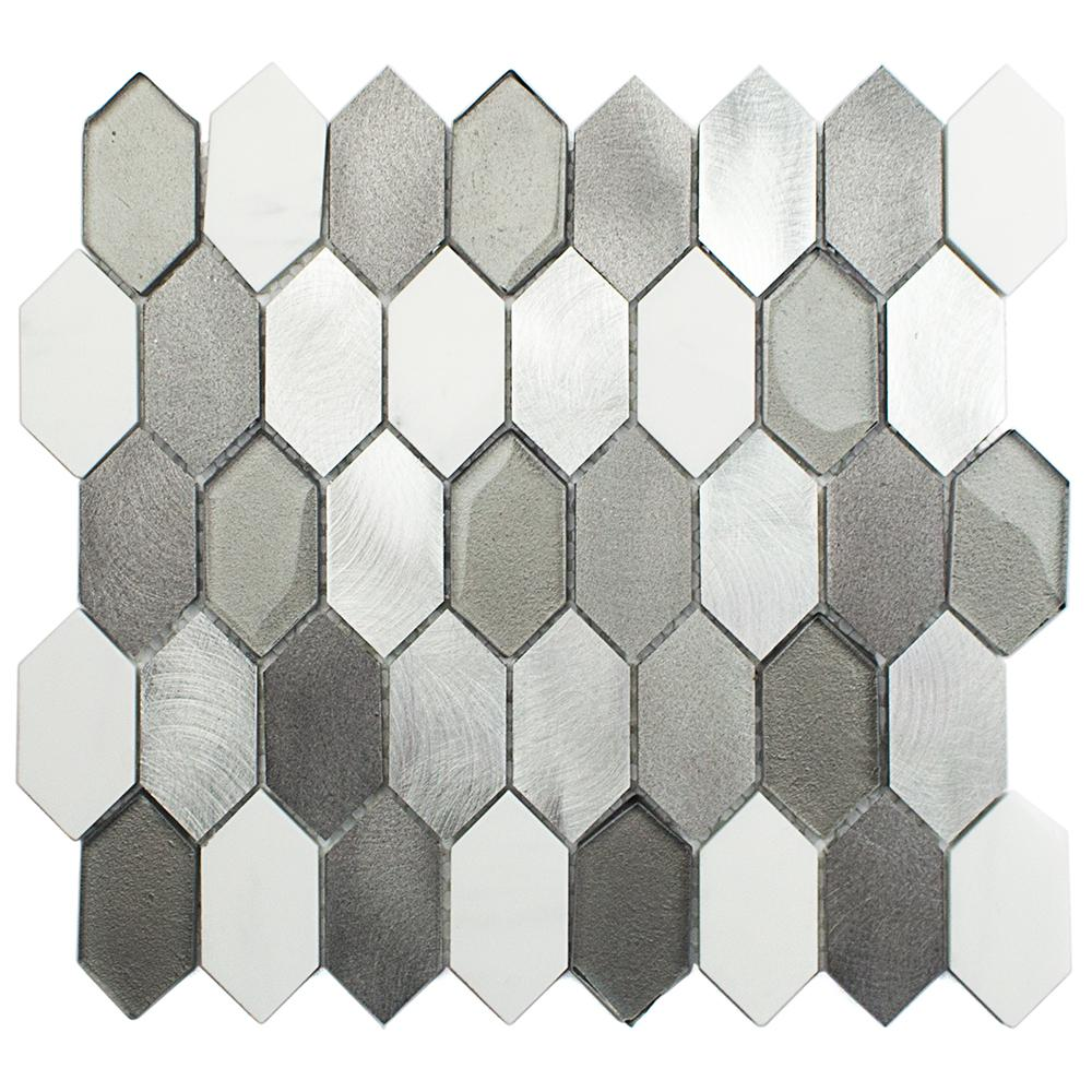 Fortis Aura Marble Metal Glass Wall Mosaic Tile - 3 in.