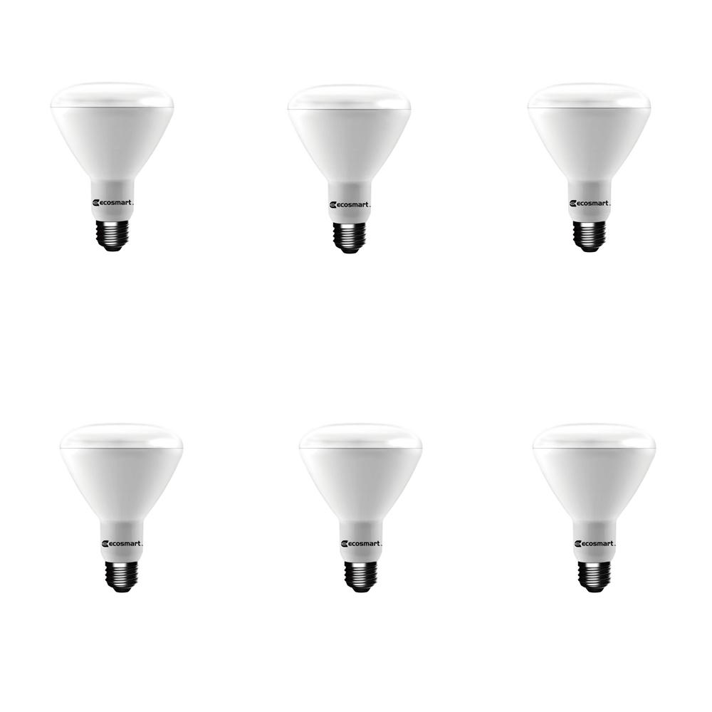 EcoSmart 65-Watt Equivalent BR30 Dimmable Energy Star LED Light Bulb Bright White (6-Pack)