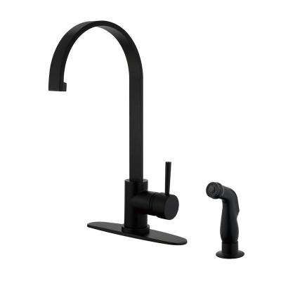 Concord Single-Handle Standard Kitchen Faucet with Side Sprayer in Matte Black