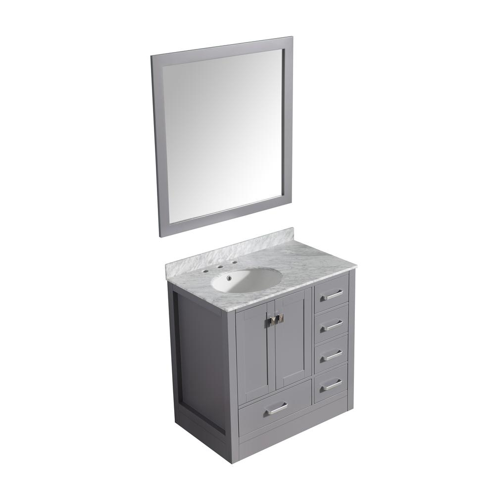 ANZZI Chateau 36 in. W x 35 in. H Skirted Bath Vanity in Gray with Vanity Top in Carrara White with White Basin and Mirror