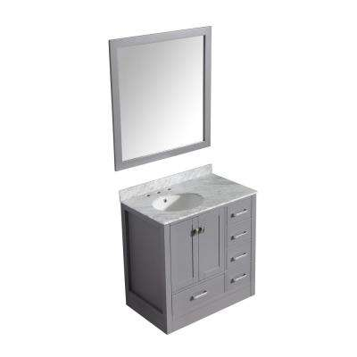 Chateau 36 in. W x 35 in. H Skirted Bath Vanity in Gray with Vanity Top in Carrara White with White Basin and Mirror