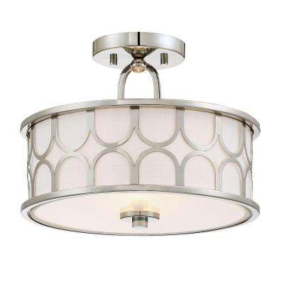 2-Light Polished Nickel Semi-Flush Mount