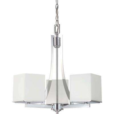 3-Light Polished Chrome Chandelier with Satin White Glass Shade