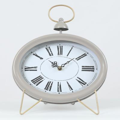 Gray Oval Decorative Table Clock