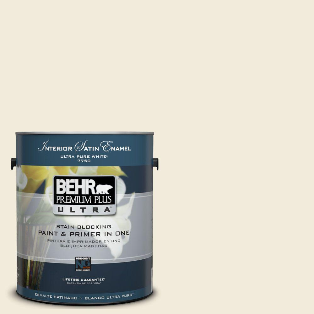BEHR Premium Plus Ultra 1-Gal. #UL160-11 Coastal Beige Interior Satin Enamel Paint