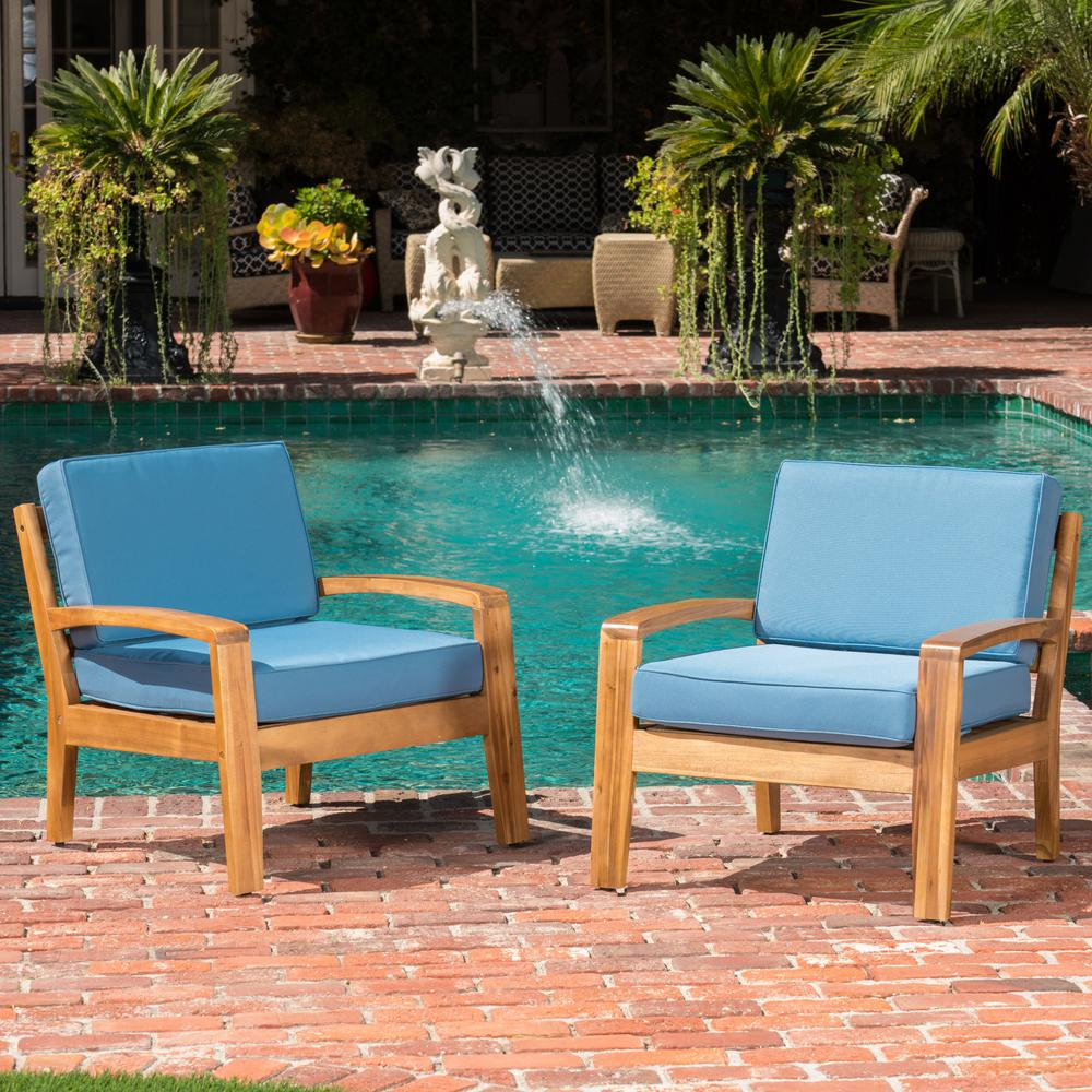 Noble House Teak Finish Wood Outdoor Lounge Chairs with Blue Cushion (2-Pack)