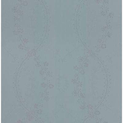 Madison Florals Blue Stencil Wallpaper Sample