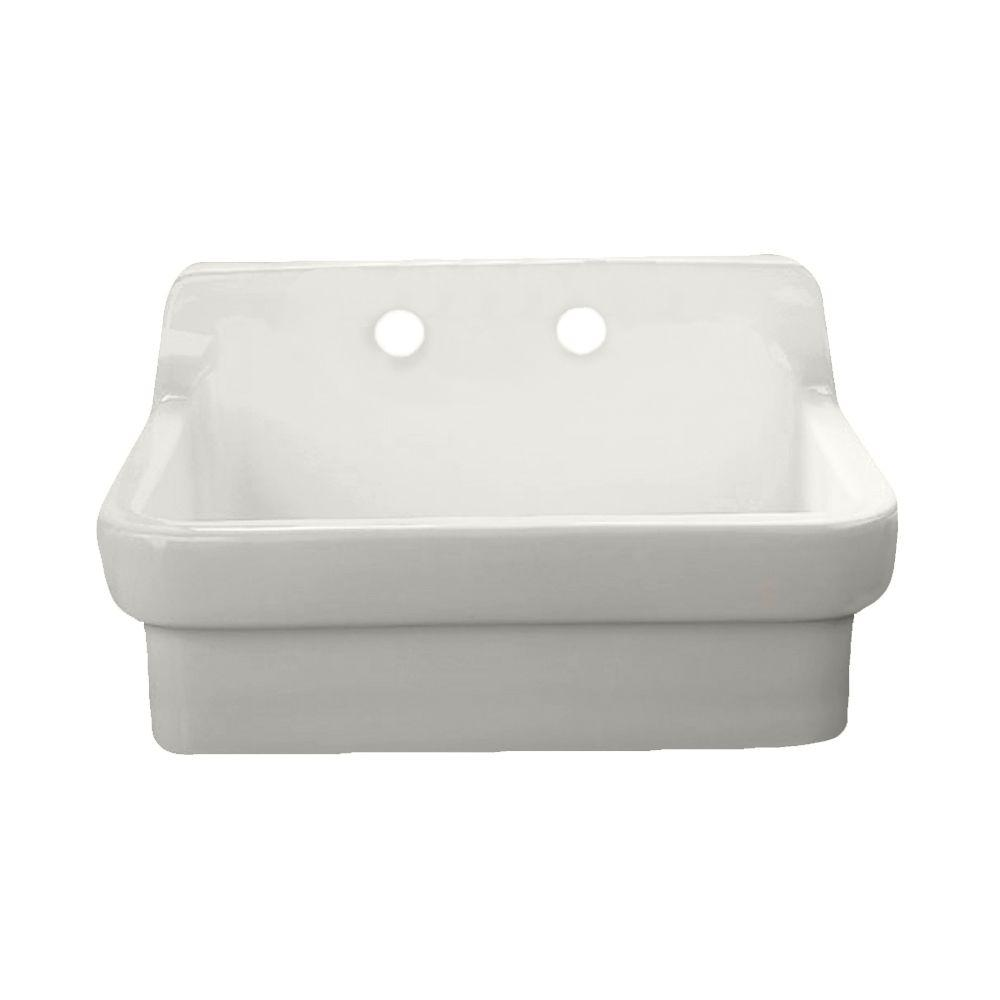 American Standard Wall Mount Vitreous China 30 In 2 Hole Single Bowl Kitchen Sink Kit In White 9062 008 020 The Home Depot