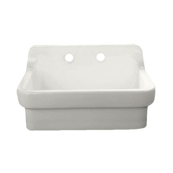 Wall Mount Vitreous China 30 in. 2-Hole Single Bowl Kitchen Sink Kit in White