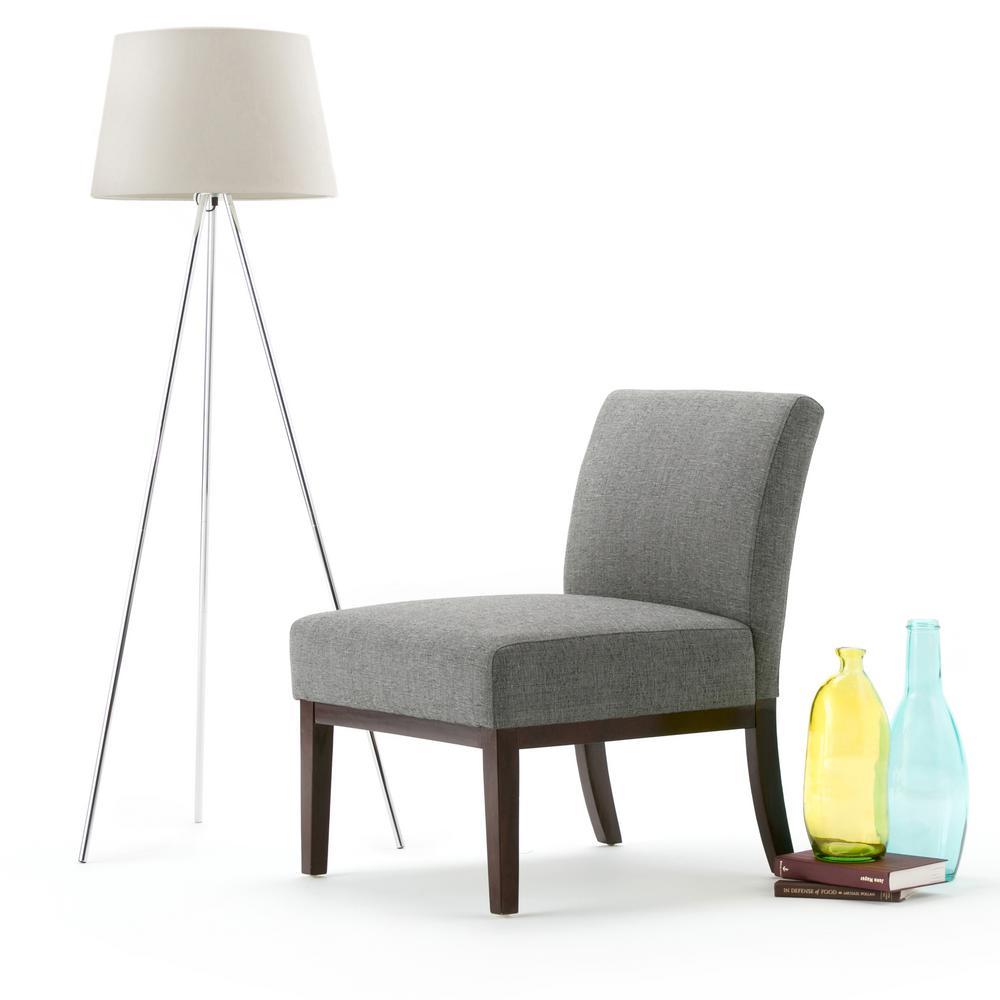 Simpli Home Upton Slate Grey Fabric Slipper Chair-AXCCHR