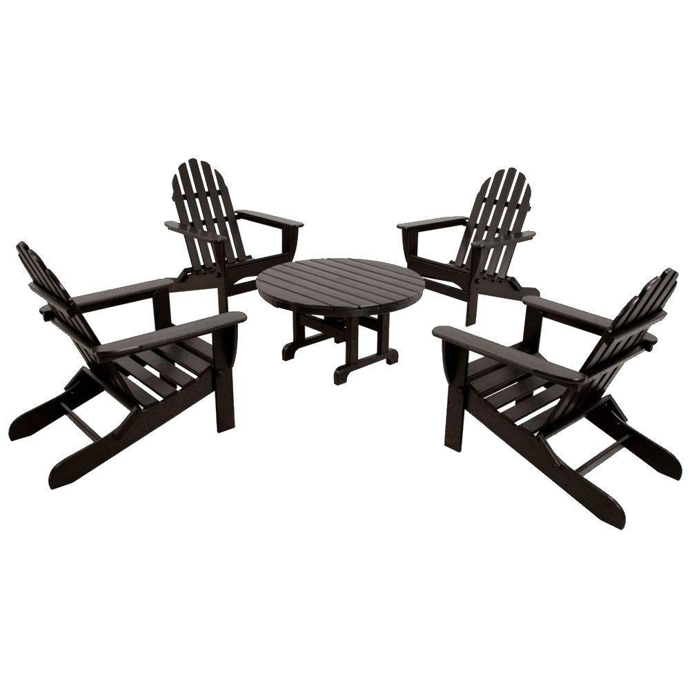 Ivy Terrace Black Folding Adirondack Conversation Set