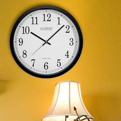14 in. Atomic Round Analog Black Wall Clock