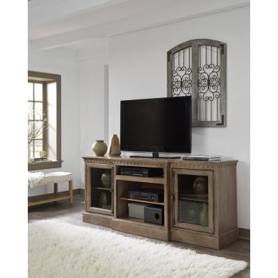 Andover Court 74 in. Antique Mist Wood TV Stand Fits TVs Up to 80 in. with Storage Doors