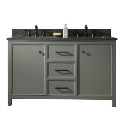54 in. W x 22 in. D Vanity in Pewter Green with Marble Vanity Top in White with White Basin with Backsplash