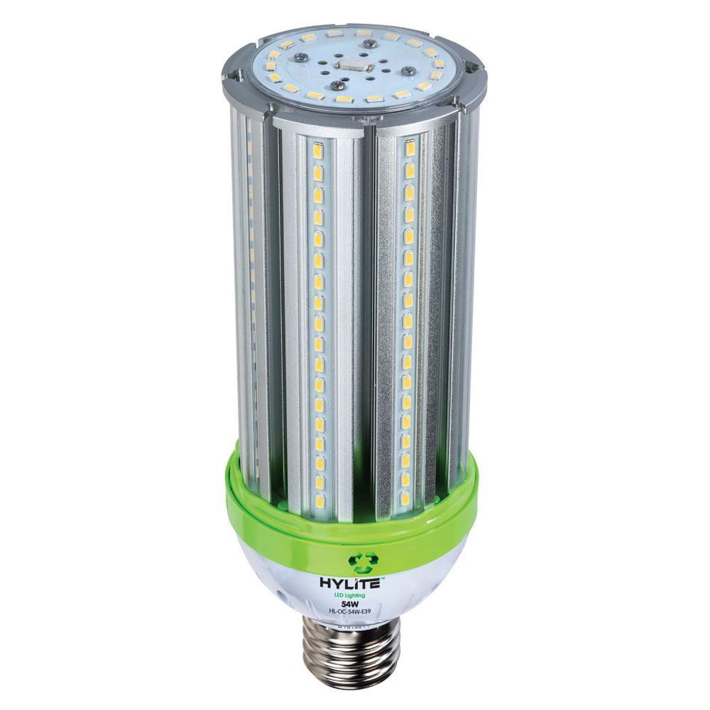 54W omni-cob LED Lamp 250W HID Equiv 5000K 7560 lumens Ballast Bypass 120-277V E39 Base IP 65 UL & DLC Listed