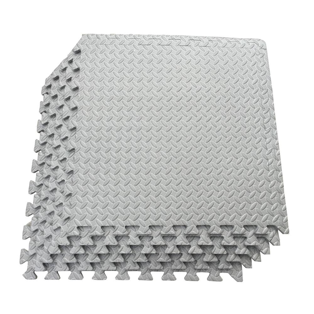 Multi-Purpose Grey 24 in. x 24 in. EVA Foam Interlocking Anti-Fatigue