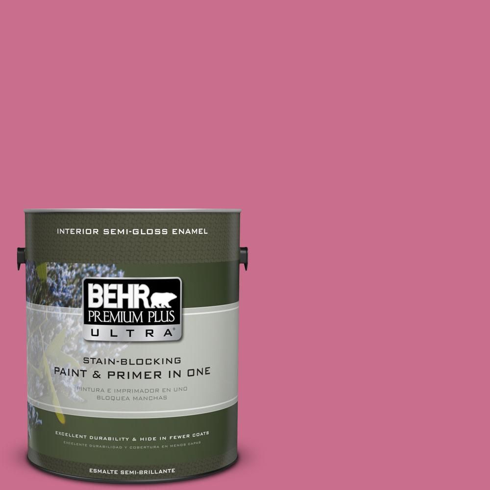 BEHR Premium Plus Ultra 1 gal. #110B-5 Silk Ribbon Semi-Gloss Enamel Interior Paint and Primer in One