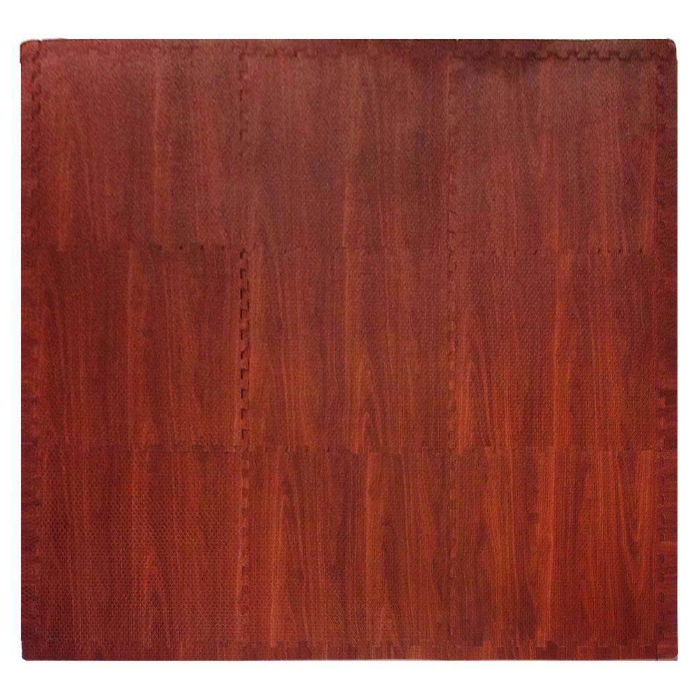 Wood Grain Dark Wood 36 in. x 36 in. EVA Floor Mat Set