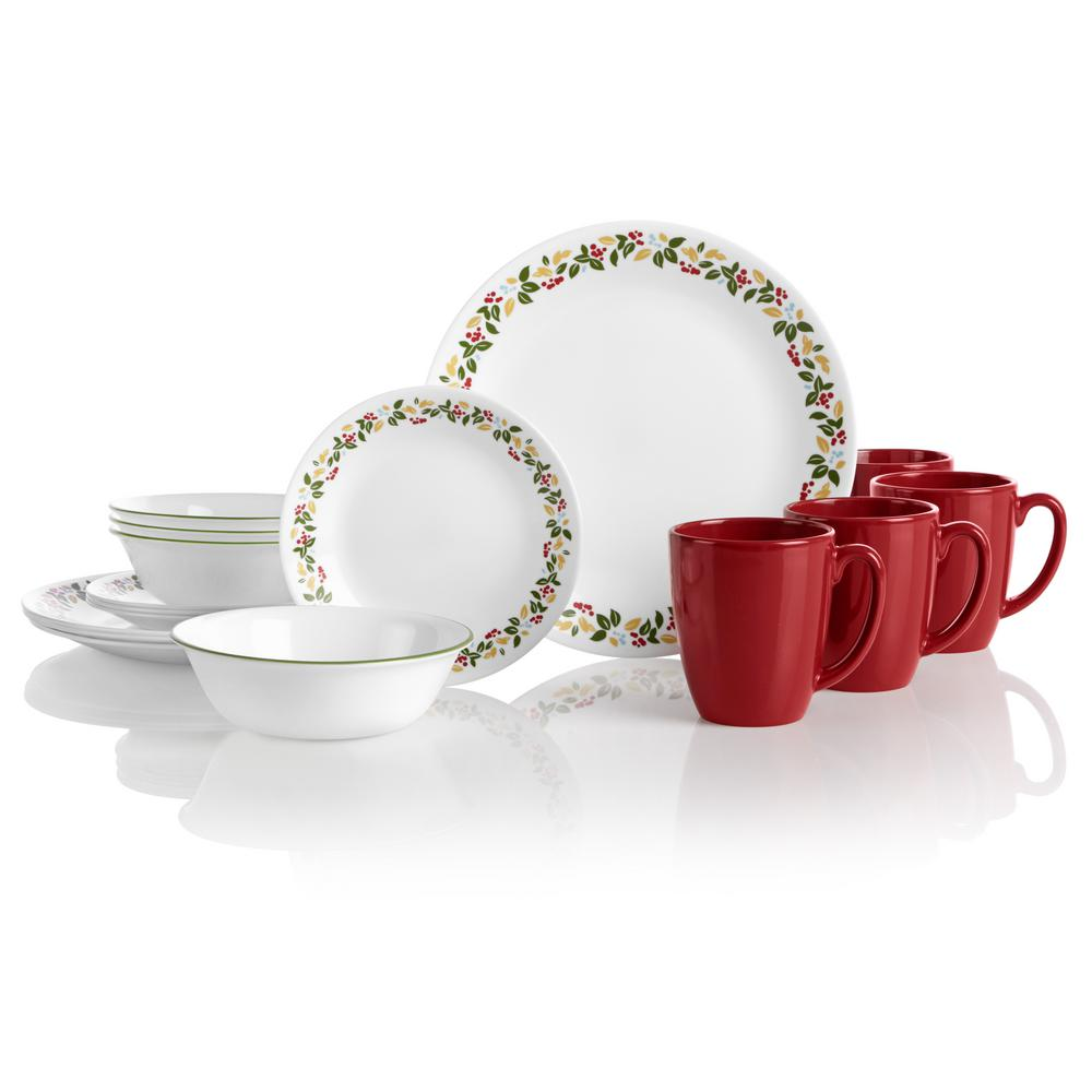 Classic 16-Piece Holiday Berries Dinnerware Set