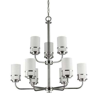 Alexis Indoor 9-Light Polished Nickel Chandelier with Glass Shades