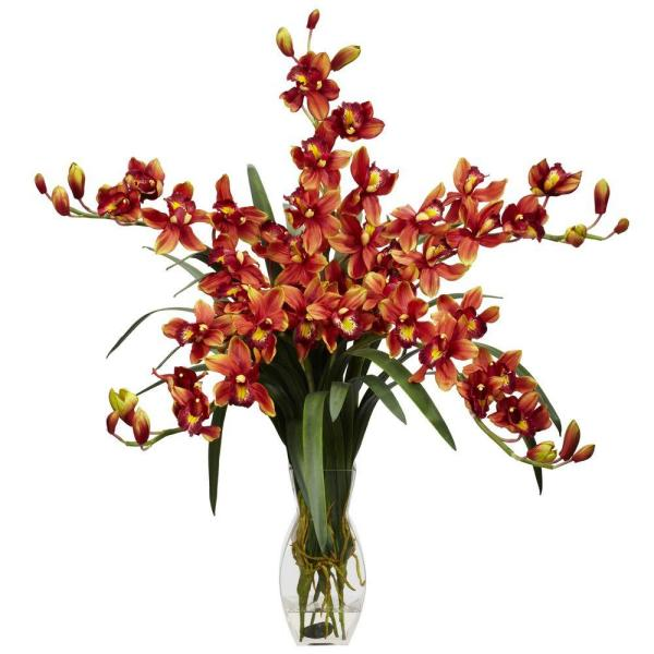 H Burgundy Cymbidium Orchid Silk Flower Arrangement