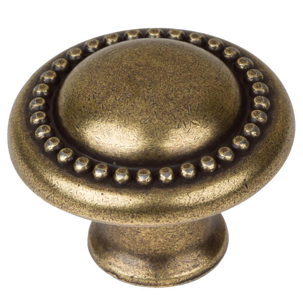 GlideRite 1-1/4 inch Dia Antique Brass Round Beaded Cabinet Knob (10-Pack) by GlideRite