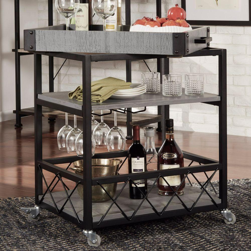Industrial Kitchen Cart Bar Cart Serving By Maverickindustrial: HomeSullivan Grove Place Weathered Grey Bar Cart With Wine