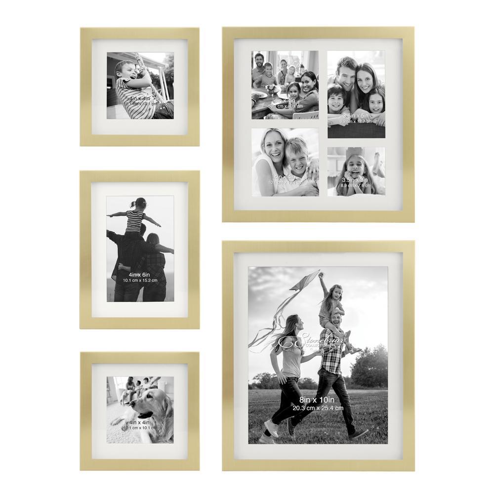 Decorative Stamped Gold Picture Frame Set, (Set of 5)