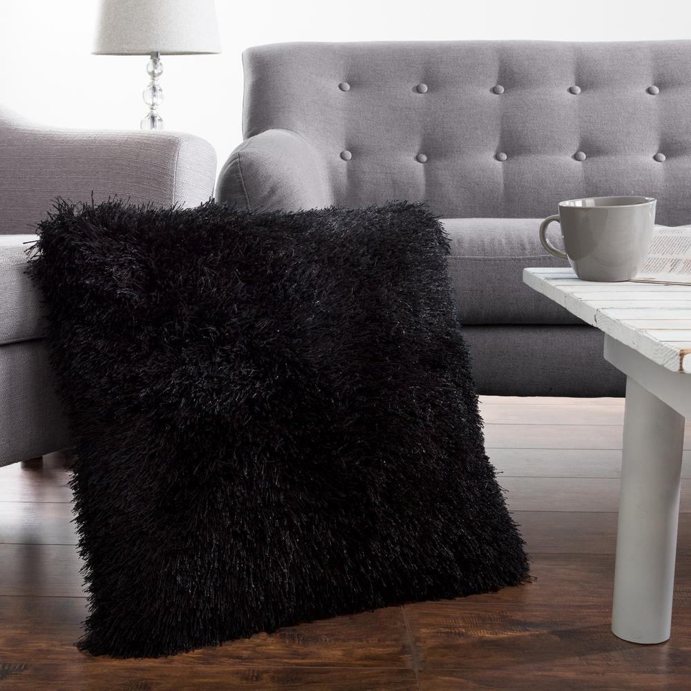 21 in. x 21 in. Black Shag Floor Decorative Pillow