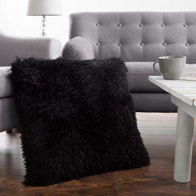 21 in. x 21 in. Black Shag Floor Decorative Pillow