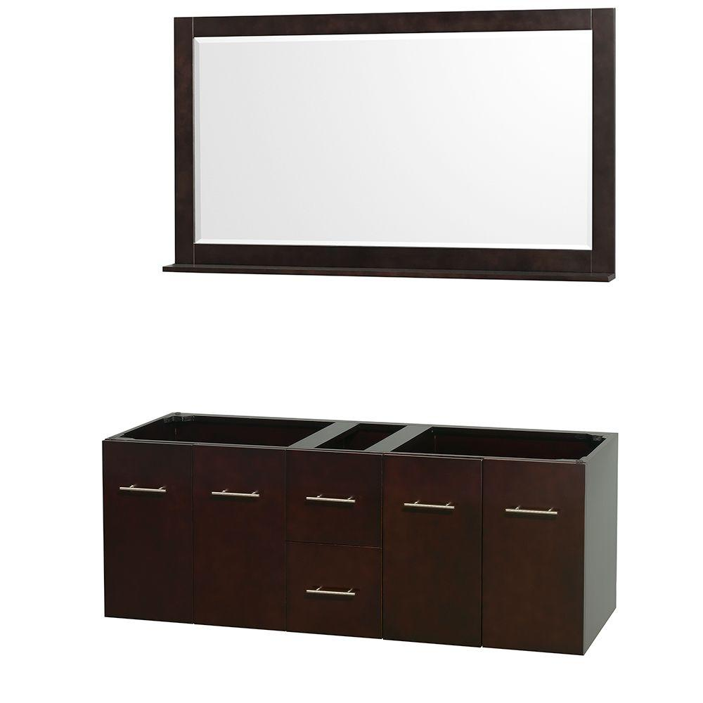 Centra 59 in. Double Vanity Cabinet with Mirror in Espresso