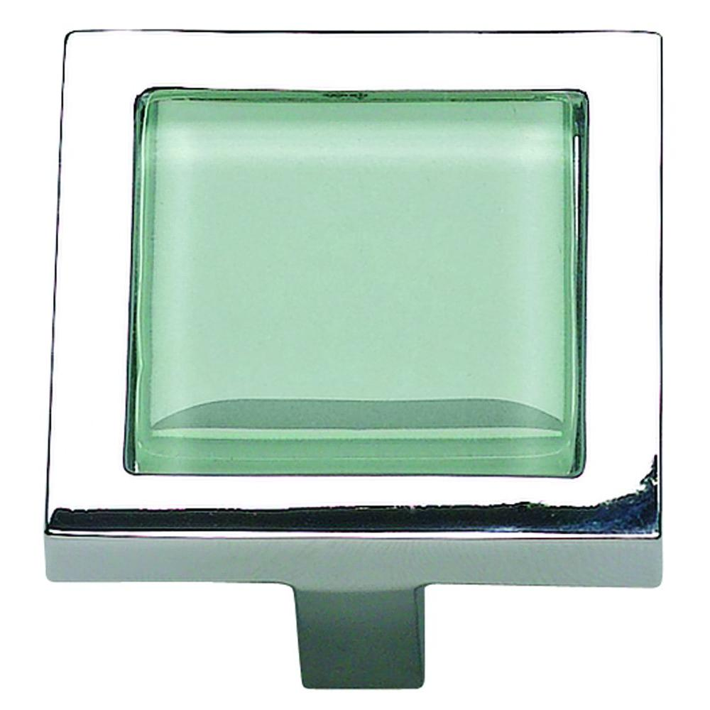 Atlas Homewares Spa Collection 1-3/8 in. Green Glass And Polished Chrome Square Cabinet Knob