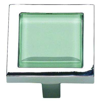 Spa Collection 1-3/8 in. Green Glass And Polished Chrome Square Cabinet Knob