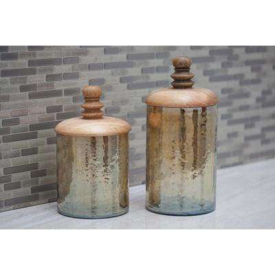Cylindrical Smoked Gold Glass Jar with Brown Wooden Lid (Set of 2)