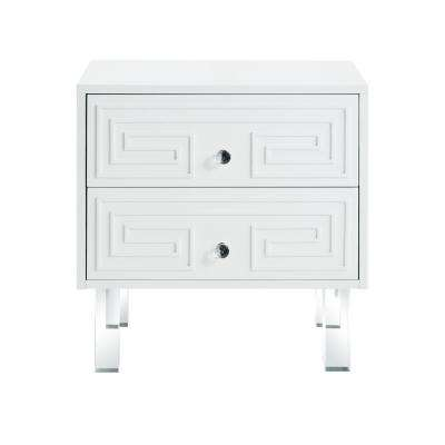 Isobel Greek Key White End Table Lacquered Lucite Leg Nightstand