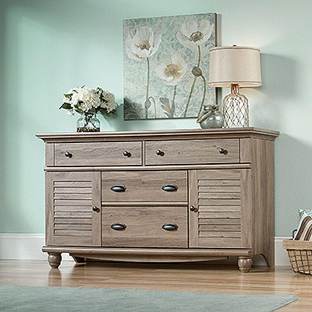 SAUDER Harbor View 4-Drawer Salt Oak Dresser-414942