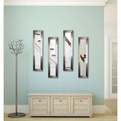 14 in. x 28 in. Silver Petite Mirror (Set of 4-Panels)